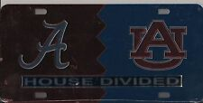ALABAMA CRIMSON / AUBURN TIGER HOUSE DIVIDED ACRYLIC LICENSE PLATE NEW SEALED