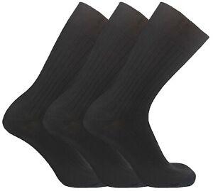 3-36 Pairs Mens Diabetic Socks Lot 100% Cotton Non Elastic Black Sock Size 6-11