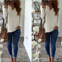 Women Fashion Long Sleeve Summer V-Neck Casual Loose T-shirt Tops Shirt Blouse