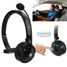 Wireless Bluetooth Trucker Noise Cancelling Headset Over Head Handsfree Boom Mic