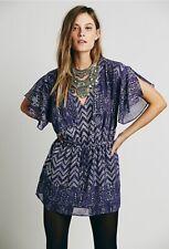 Free People Metallic Chevron Tunic Mini Dress SZ Small Tassel Boho Kimono Sleeve