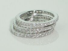 Sterling Silver Simulated diamonds Eternity Stack 3 Ring set. s6