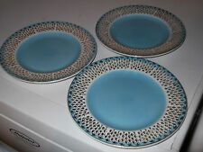 THREE POSSIBLY VINTAGE SIDE PLATES BLUE WITH A WHITE BAND  GOLD COLOUR OVERLAY