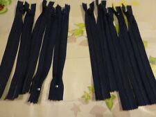 lot 5  fermetures éclairs neuves 18cm, par lot de 5 =  bleues marine