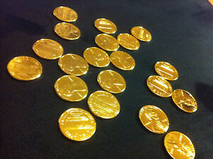 24 karat gold plated  -1 PENNY Genuine Pure 24 K 7 mils Gold layered 1 cent .