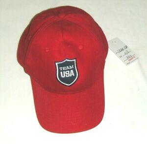 New TEAM USA OLYMPICS RED BASEBALL CAP O/S men ADJUSTABLE BACK US U.S. HAT BLACK