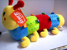 """Caterpillar Plush Rattle By Lenzy, 17"""" x 9"""", Multi-Colored, Brand New"""