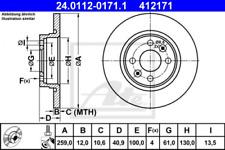 2x Bremsscheibe für Bremsanlage Vorderachse ATE 24.0112-0171.1