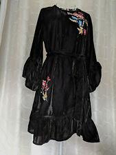 BNWT Black Floral Embroidered V BY VERY Quality Soft Plush Velvet Dress Size 14