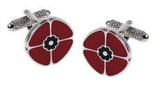 Remembrance Day Poppy Cufflinks  New & Boxed by Onyx-Art London CK861