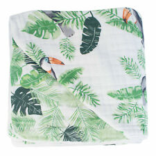Bebe au Lait Soft Muslin Snuggle Blanket Travel Security Throw Blankie Rio +Palm