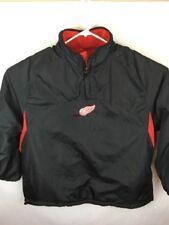 Men Sz XL NHL Detroit Red Wings Hockey 1/4 Zip Reversible Pullover Jacket Blk/Rd