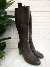 Ladies Marks & Spencer Brown Leather Knee High Boots Size UK 4 EU 37 M&S Heels