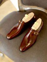 Mens Handmade single Monk Tip shoes Men Dress Brown shoes 100% Genuine Leather