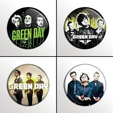 """4-Piece Green Day 1"""" Band Pinback Buttons / Pins / Badges Set"""