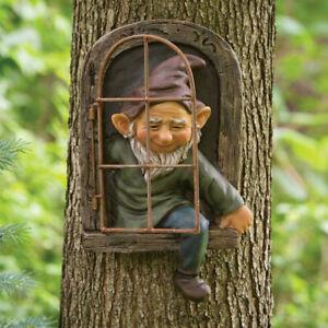 Baum Gesicht Deco Glow Augen in Dark Spaß Alten Mann Baum Skulptur Im Freien