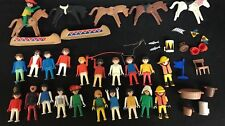 Playmobil Lot Of 21 Figures With Horses And Accessoriess 1970s