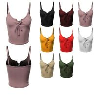FashionOutfit Women's Solid Front Eyelet Lace Up Spaghetti Strap Crop Tank Top