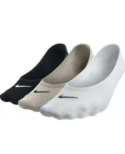 Nike Women's Every Day Lightweight Footie Black/White/Tan 3 Pack No Show Socks