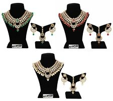 Indian Necklace Fashion Gold Plated Wedding Bollywood Kundan Multi Color Jewelry