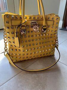 Michael Kors Yellow/Gold Studded Handbag Excellent Condition