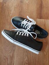 Vans Black Leather Shoes/ Trainers Size Us 7 Uk 6