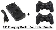 Fast Dual Charging USB Charger Dock Cradle & 2 Controllers for Playstation 3 PS3