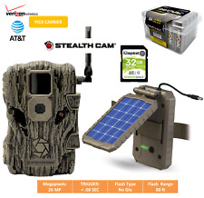 Cellular Trail Camera Verizon ATT Game Camera Bundle: Solar Panel Batteries SD