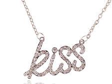 Unique Womens Silver Necklace Clear CZ Letter Kiss Pendant Necklace Party Favor