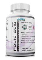 Folic Acid 400mcg 180 Tablets High Strength Healthy Pregnancy Support