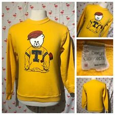 Vintage BJ Design Concept M Teddy Bear Yellow Crew Neck Sweat Shirt A5065