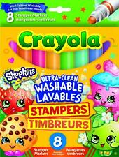 Crayola 58-8152-A-000 Shopkins 8 Ultra-Clean Washable Stamper Markers - New