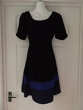 Maternity Dress by H&M Mama in Black/Blue with Tie Waist/Zip Back Size Small