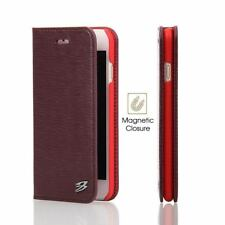 iPhone 8 & 7 Wallet Case, Fierre Shann Toothpick Genuine Leather Cover, Wine Red