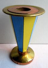 Bougeoir vintage 1950, cuivre et laiton doré, 8 faces en formica bleu et jaune