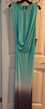 NEW Young Fabulous & Broke Aqua/Gray Ombre Draped Front Maxi Dress S $225 NWT