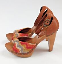 Vince Camuto Wooden Heels Size 6.5 Leather Fabric Upper Ankle Strap Open Toe
