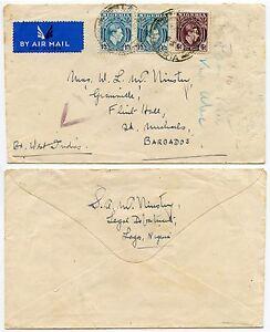 NIGERIA to BARBADOS WW2 CENSOR TRIANGLE 1943 AIRMAIL FLINT HALL 3s FRANKING