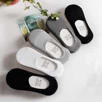 5Pack Men Cotton Socks Invisible No Show Nonslip Solid Loafer Boat Low Cut Sport