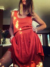 josie natori dress knit 100% Silk 12 Brand New Tags Ruffle Orange XL