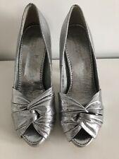 Bellucci Gris Plata Boda Fiesta Baile de Graduación Damas Peeptoe Zapatos talla EUR 38 UK 5