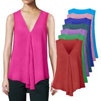 Womens V Neck Tank Tops Sleeveless Loose Shirts Long Tunic Tees Cami Blouses