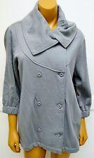 Roxy Jacket Coat Gray Cotton Poly Medium Grey New Collar knit