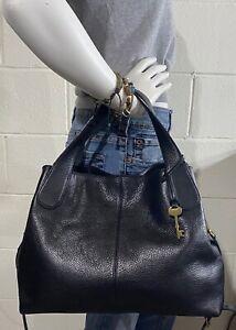 NWD FOSSIL Maya Crossbody/Satchel BLACK Leather Handbag