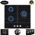 """24"""" 3 Burners Gas Cooktop Tempered Glass Panel Built-in LPG NG Hob Black Cooker photo"""