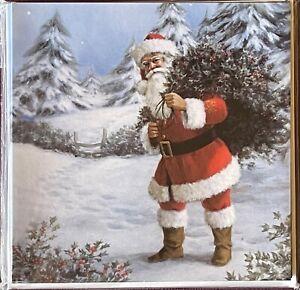 10 CHARITY CHRISTMAS CARDS - 'Ready for Christmas' ~ Santa - Gathering Holly