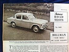 HILLMAN MINX SERIES I -1956 - Road Test from AUTOCAR magazine