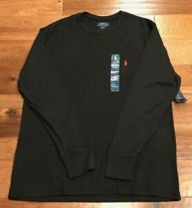 Polo Ralph Lauren Thermal Shirt Men's XL Long Sleeve Cotton Blend Black NWT