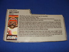 Wet Suit  File Card 1986 Gi Joe Vintage