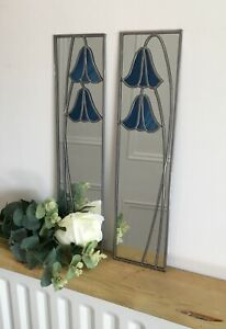 Bluebell 15.5x61cm pair Stained Glass effect mirror Hand made in the mackintosh